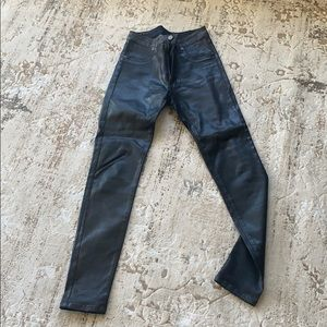 Black thick wet look skinny jeans